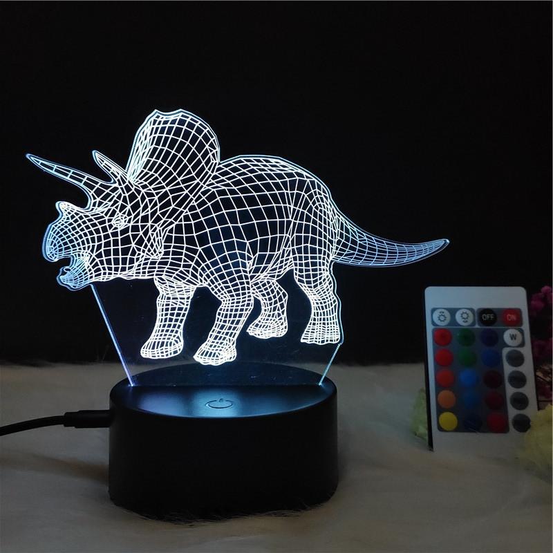 3D Светильник ночник 3D Лампа — Динозавр Трицератопс (с пультом управления)
