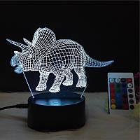3D Светильник ночник 3D Лампа — Динозавр Трицератопс (с пультом управления), фото 1