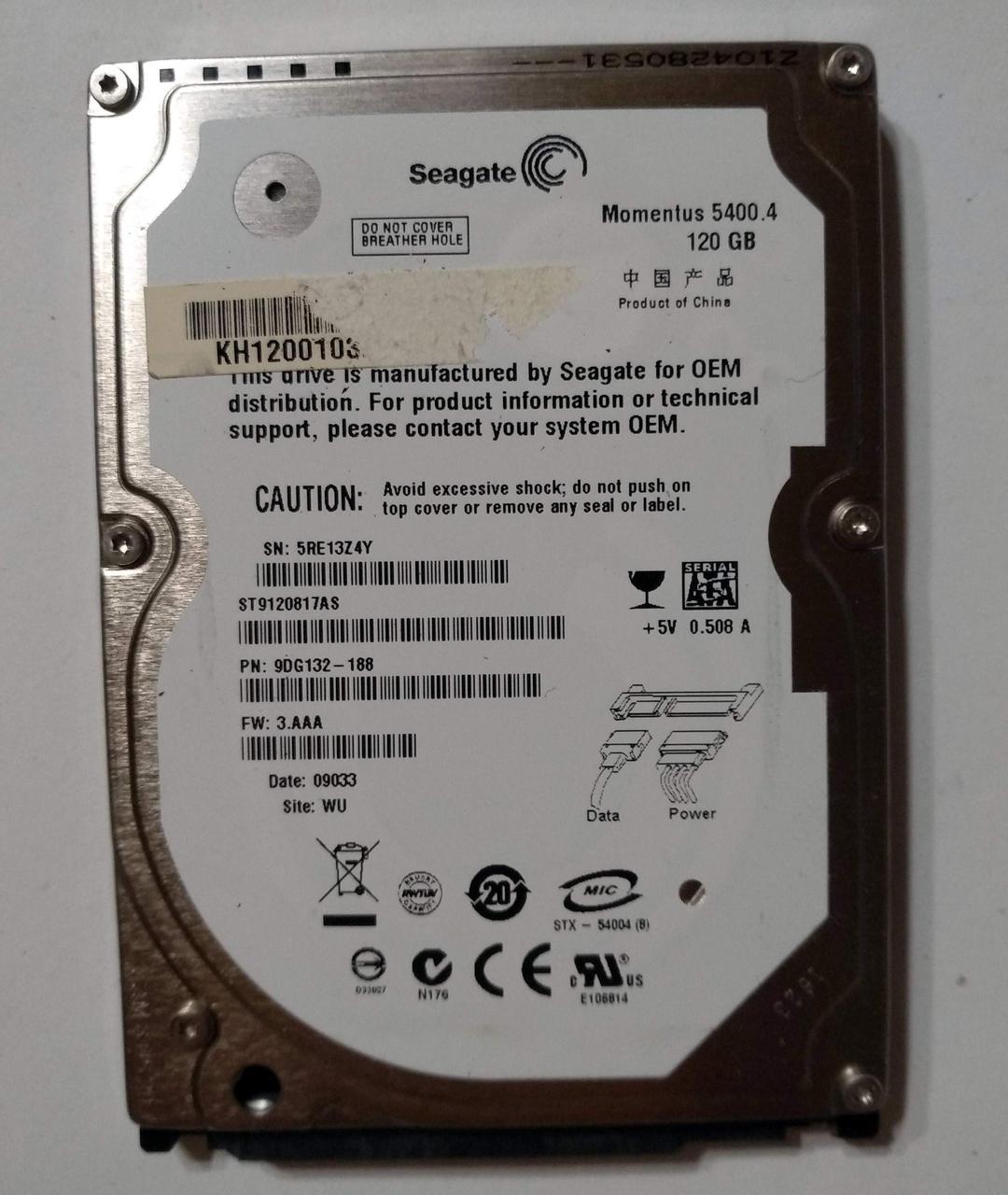 475 HDD Seagate 120 GB SATA2 2.5'' 5400 8MB - ST9120817AS - хорошее состояние
