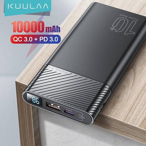 Оригинальный Power Bank KUULAA KL-YD12 10000 мАч с поддержкой быстрой зарядки QC3.0 USB Type-C PD 18 Вт Black, фото 2