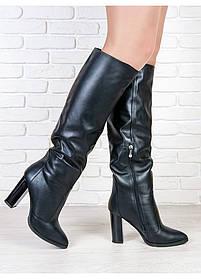 Сапоги зимние женские кожаные с каблуком, размеры 36-40