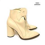 Ботинки-казаки на каблуке 8см, цвет молочный, фото 2