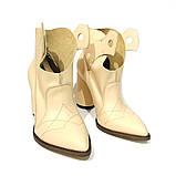 Ботинки-казаки на каблуке 8см, цвет молочный, фото 3