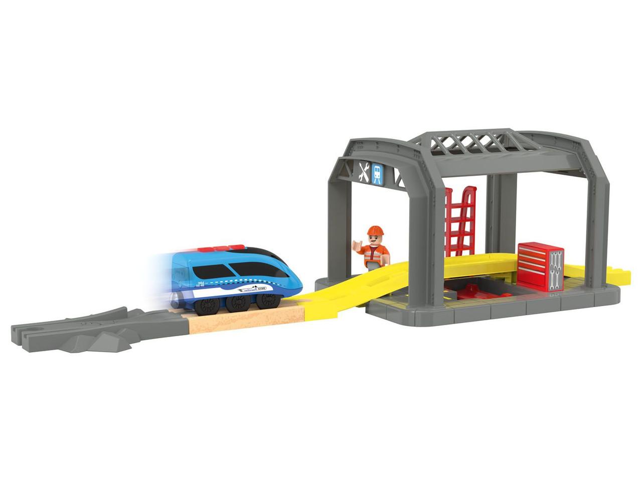 Мастерская Magic drive с электропоездом для деревянной железной дороги Playtive