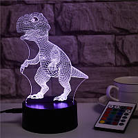 3D Світильник нічник 3D Лампа — Динозавр Тірекс (з пультом управління)