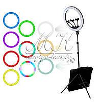 Кольцевая лампа для макияжа на штативе RL-18 45 см, 65W (радужная) БОЛЬШАЯ