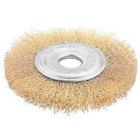 Щетка дисковая гофрированная латунная проволока ПРОФИ 125 мм х 22.2 мм Tolsen 77527