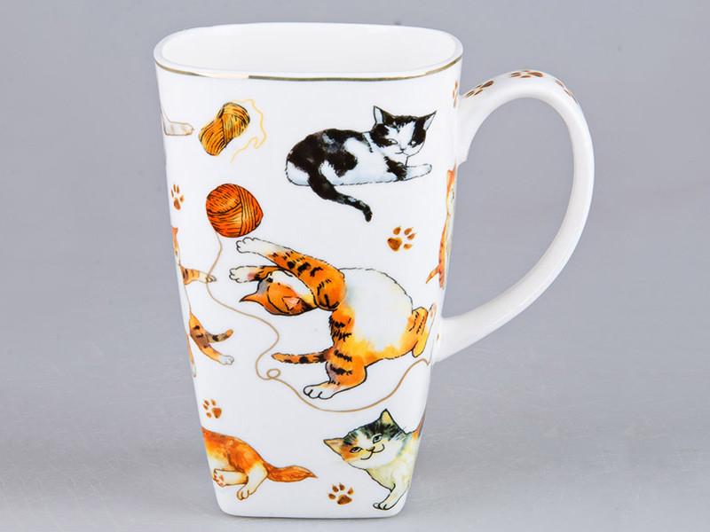 Высокая чашка Кошки 14см 600мл
