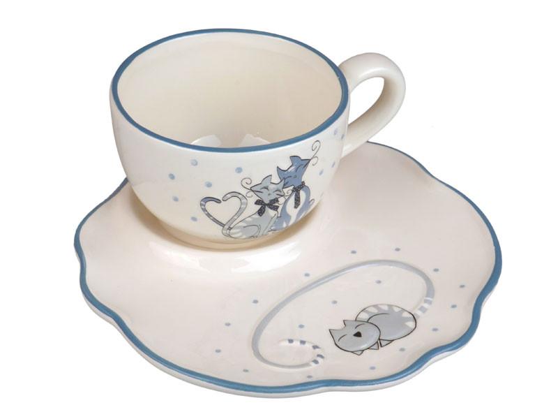 Чашка с блюдцем Милые котики 260мл 2пр