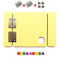 Заготовка для Бизиборда Желтая Дверка 8 см + Петли + Саморезы  дверца Дерев'яні двері бізіборда, фото 1