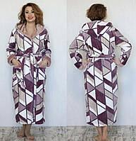 Женский махровый длинный халат больших размеров