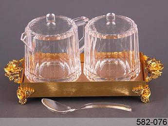 Сахарница и сливочник на подставке с ложкой золотые фантазии 12см 4пр
