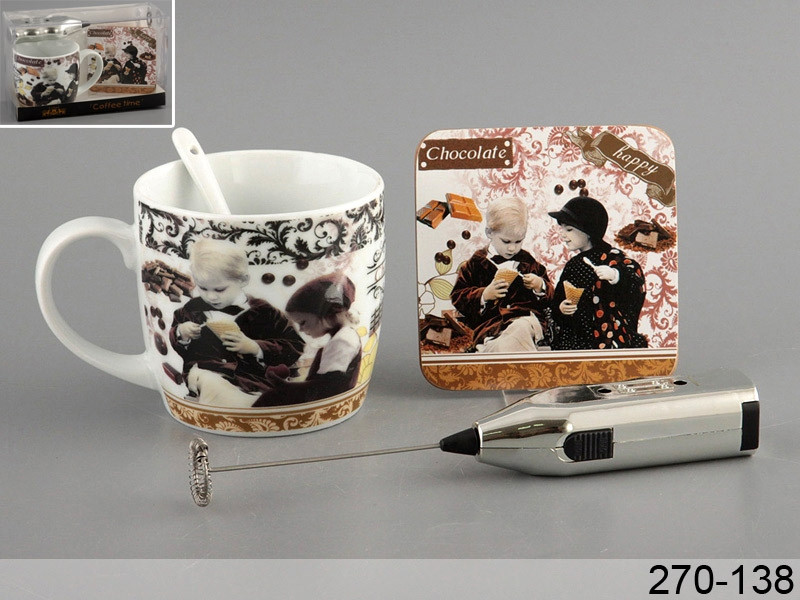 Набор для кофе Lefard с миксером для пенки влюбленные дети 380мл 4пр