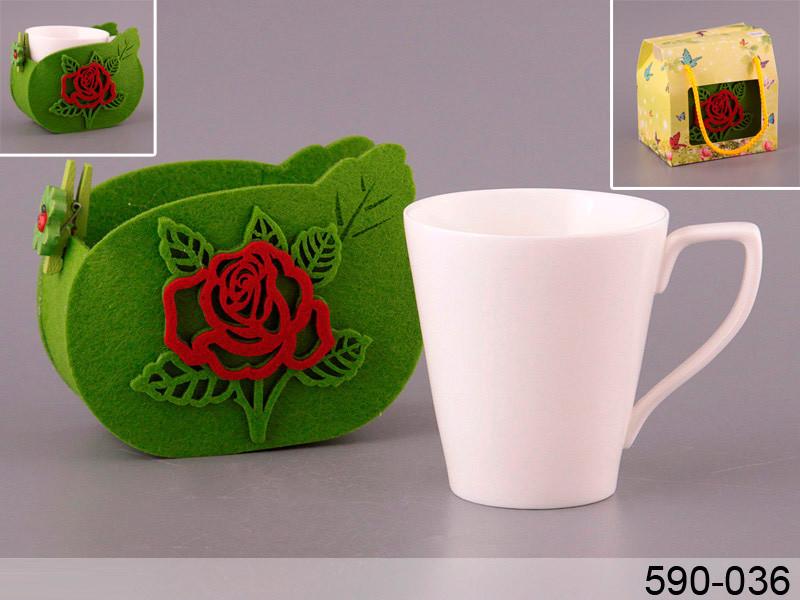 Чашка в упаковке из войлока роза Lefard 350мл