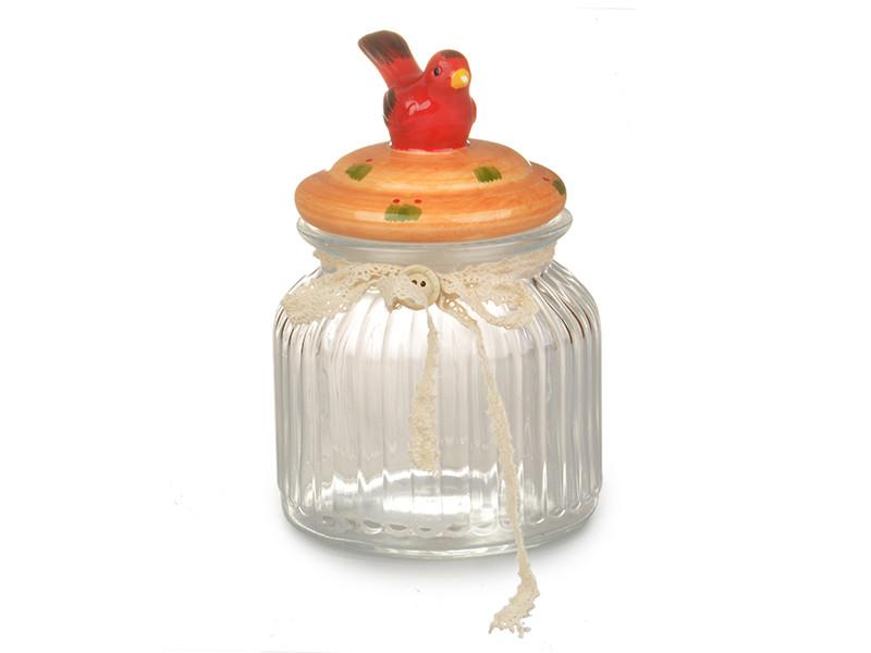 Банку для зберігання Шеббі Шик Червона пташка 16х11х11см