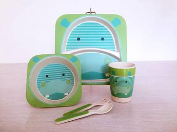 Дитяча бамбукова посуд Бегемотик 5пр