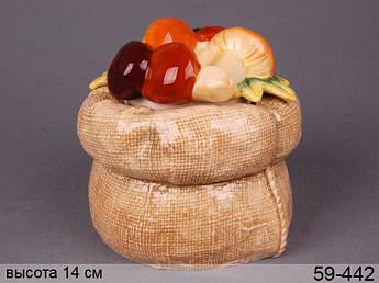 Конфетница мешочек с грибами Lefard 16см