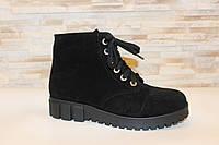 Ботинки женские черные на шнуровке зимние натуральная замша код С785
