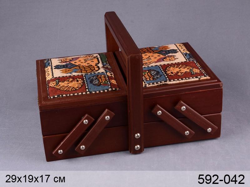 Шкатулка для рукоделия деревянная домашние любимцы Lefard 29х19х17