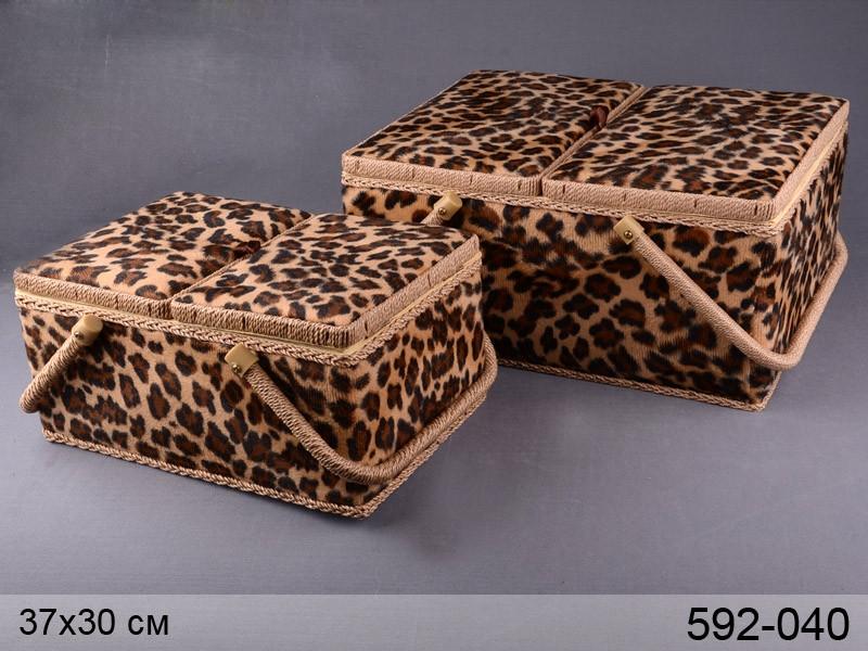 Шкатулки для рукоделия леопард Lefard 300/370мм 2пр