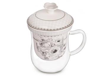 Стеклянная заварочная чашка с керамическим фильтром Lefard Ретро мотив 400мл