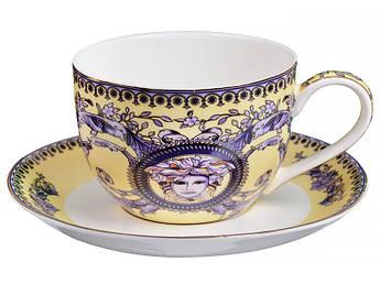 Чашка с блюдцем Versace (Версаче) синяя 280мл 2пр