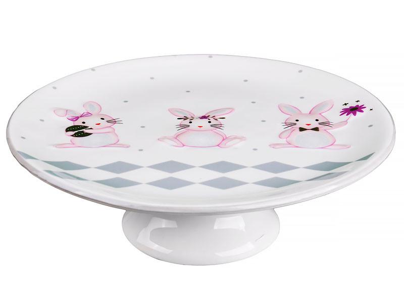 Красиве пасхальне блюдо для торта на ніжці Кролики кераміка 200мм 940-155