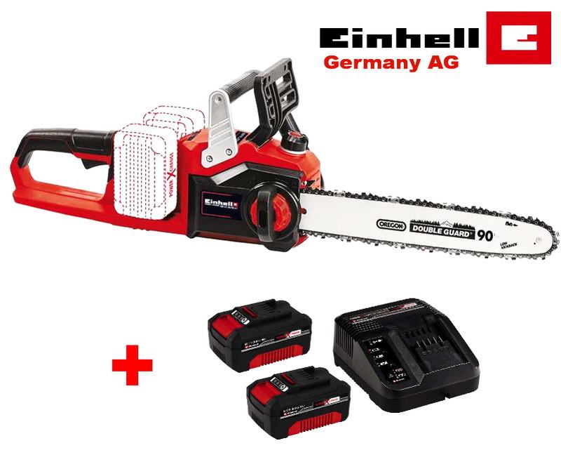 Аккумуляторная бесщеточная цепная пила EINHELL GE-LC 36/35 Li Solo + 2 АКБ 18V/3Ah (шина 350мм)
