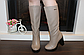 Сапоги женские зимние бежевые на каблуке натуральная кожа код С681-1, фото 4