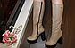 Сапоги женские зимние бежевые на каблуке натуральная кожа код С681-1, фото 6