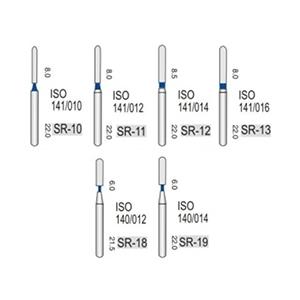 Алмазные турбинные боры средней абразивности (106-125μ), SR - прямой, закругленный кончик