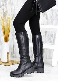 Высокие сапоги женские кожаные с мехом  на низком каблуке, размеры 36-40
