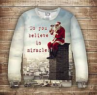 Свитшот рождественский с 3D принтом Санта Клаус: Ты веришь в чудо ?. Взрослые и детские размеры
