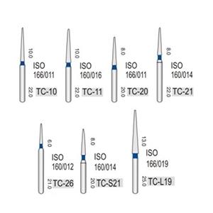 Алмазные турбинные боры средней абразивности (106-125μ),TC - конусо-образный, острый кончик