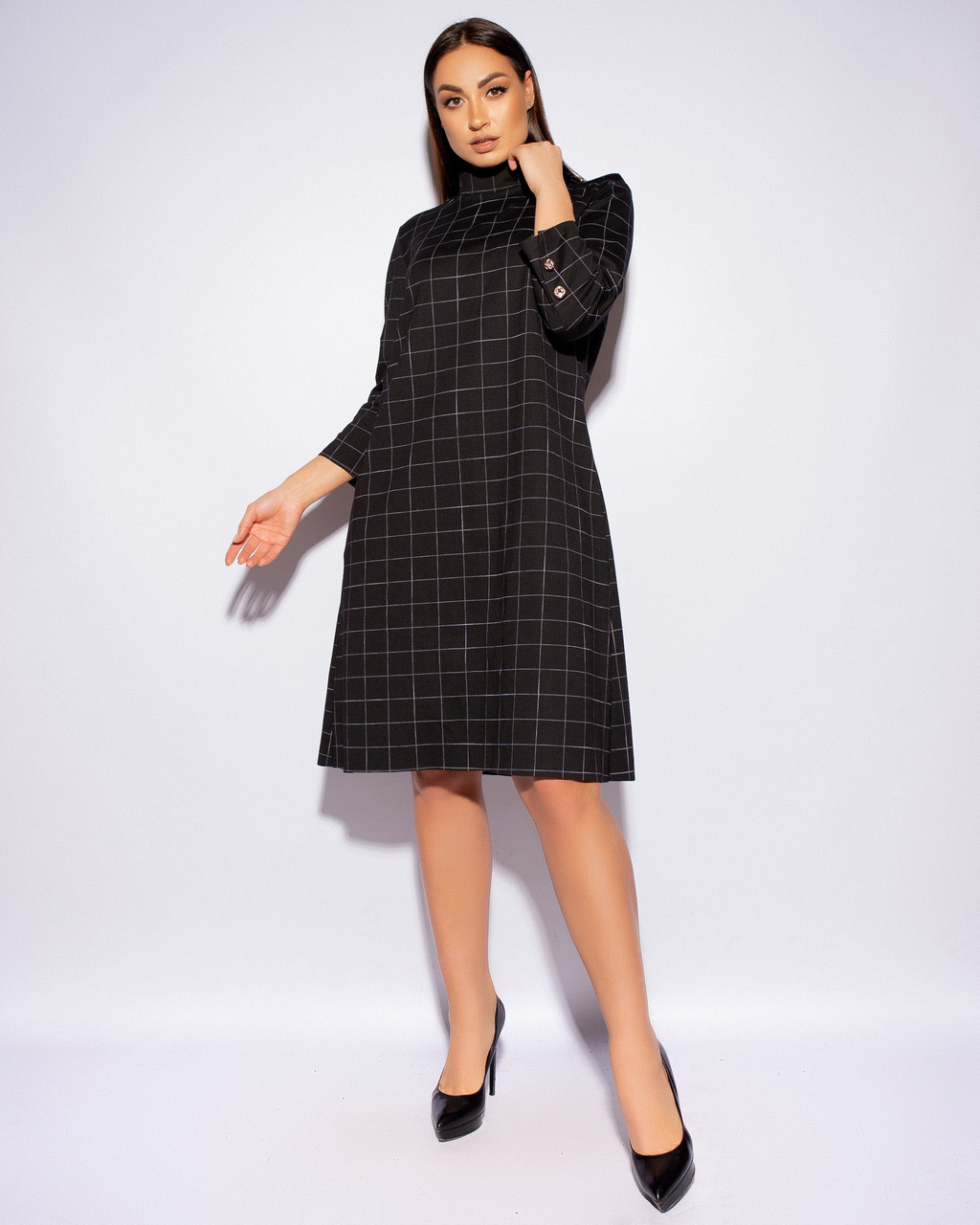 Элегантное женское платье большого размера в клетку.Размеры:52,54,56,58+Цвета