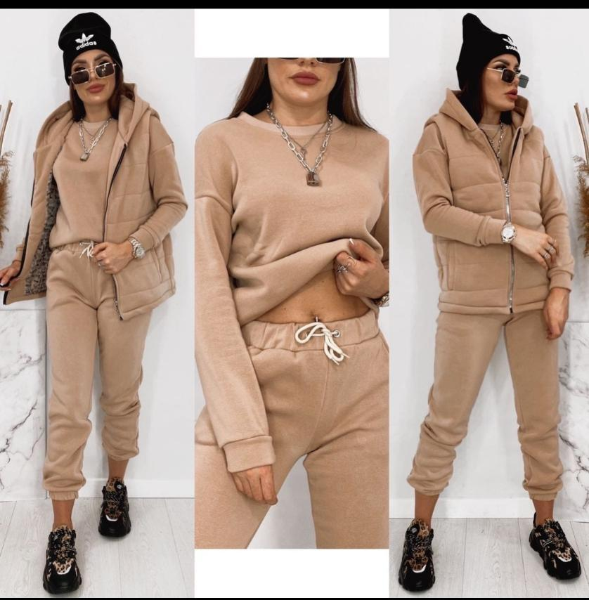 Женский стильный теплый костюм тройка. Размеры: 42-44,46-48,50-52. Цвет: беж,серый,черный,сирень.