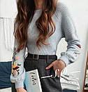 Теплый вязаный женский свитер серый с вышивкой, фото 3