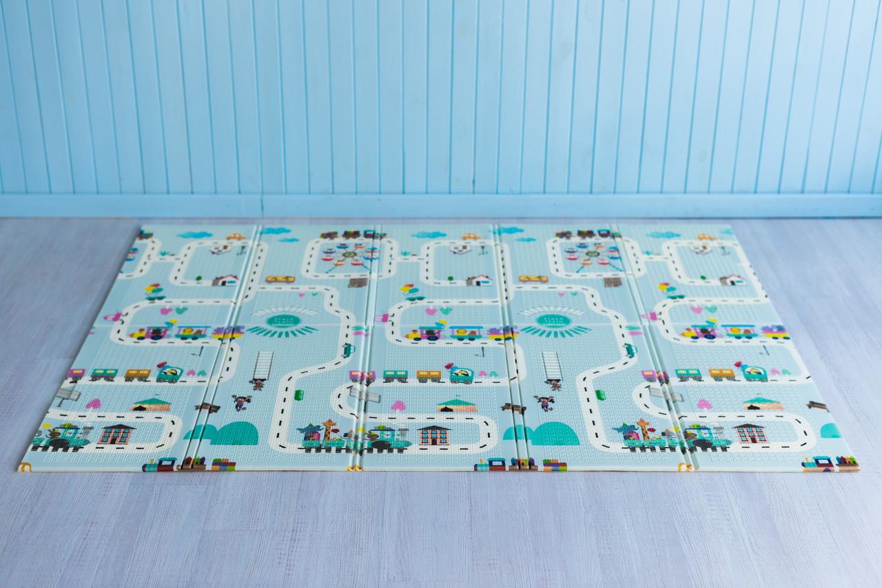 Детский коврик складной развивающий термоковрик двусторонний 2 м х 1,8 м х 10 мм Дорога и животные