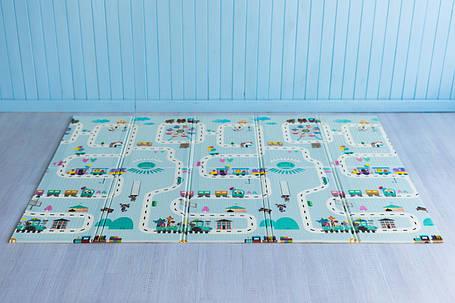 Детский коврик складной развивающий термоковрик двусторонний 2 м х 1,8 м х 10 мм Дорога и животные, фото 2