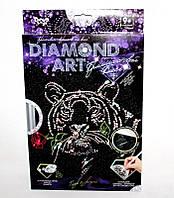 Набор для творчества DIAMOND ART Бриллиантовый блеск Тигр с розой DT