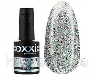 Гель-лак Opal Oxxi 002 серебряный с разноцветными блестками, 10мл