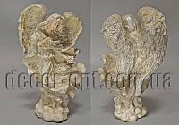 Ангел с букетом 19см серебряная присыпка