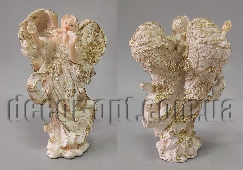 Ангел с голубем 19см золотая присыпка
