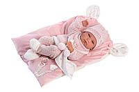 Кукла Llorens 73860 малышка Ника 38 см на розовом одеяле с ушами