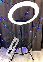 Кольцевая LED лампа для селфи и макияжа RL-18 (45 см) со штативом и пультом