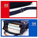 Вместительная школьная сумка синяя с ремешком через плечо для мальчика 2 - 3 - 4 - 5 класс, фото 8