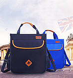 Вместительная школьная сумка синяя с ремешком через плечо для мальчика 2 - 3 - 4 - 5 класс, фото 9