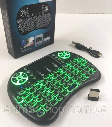 Беспроводная мини-клавиатура Mini Keyboard i8 с подсветкой Чёрная
