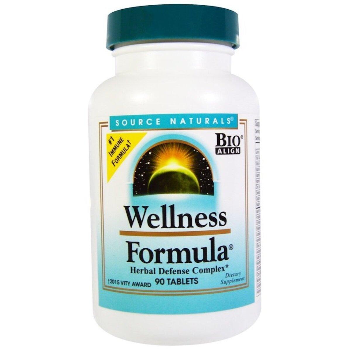 Комплекс лечебных трав, Wellness Formula, Source Naturals, 90 таблеток