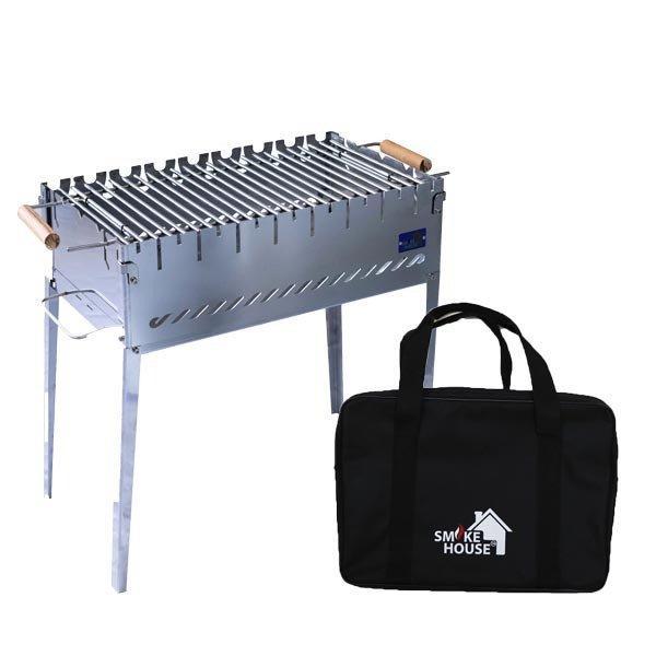 Раскладной мангал чемодан на 8 шампуров из нержавеющей стали с сумкой и решеткой